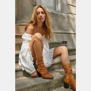 Free People Elle Block Heel Boots Size 40 Tan